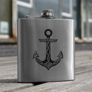 HF6 AN - 6oz Stainless Steel Hip Flask Anchor