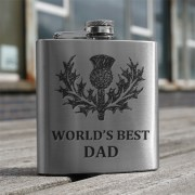 HF6 BD - 6oz Stainless Steel Hip Flask 'Best Dad'