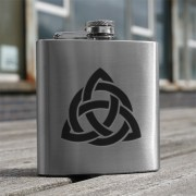 HF6 CI - 6oz Stainless Steel Hip Flask Celtic Interlace