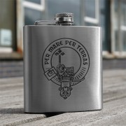 HF6 C - 6oz Stainless Steel Hip Flask Clan Crest