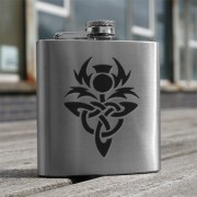 HF6 CT - 6oz Stainless Steel Hip Flask Celtic Thistle