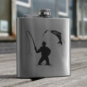 HF6 FM - 6oz Stainless Steel Hip Flask Fisherman