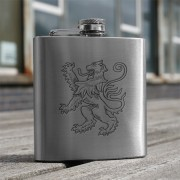 HF6 LR - 6oz Stainless Steel Hip Flask Lion Rampant