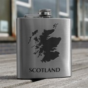 HF6 SM - 6oz Stainless Steel Hip Flask Scotland Map