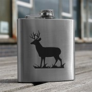 HF6 ST - 6oz Stainless Steel Hip Flask Stag