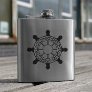 HF6 SW - 6oz Stainless Steel Hip Flask Ships Wheel