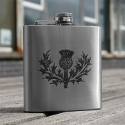HF6 TH - 6oz Stainless Steel Hip Flask Thistle