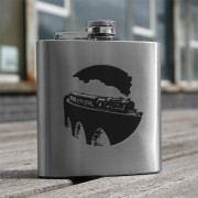 HF6 TR - 6oz Stainless Steel Hip Flask Steam Train