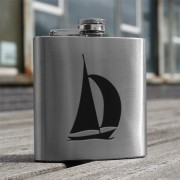 HF6 YA - 6oz Stainless Steel Hip Flask Yacht