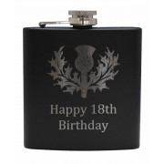 HF6 B 18 - 6oz Matt Black Hip Flask 'Happy 18th'