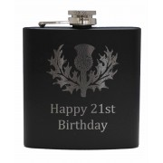 HF6 B 21 - 6oz Matt Black Hip Flask 'Happy 21st'