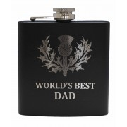 HF6 B BD - 6oz Matt Black Hip Flask 'Best Dad'