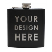 HF6 B BE - 6oz Matt Black Hip Flask Bespoke Design