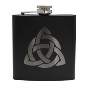 HF6 B CI - 6oz Matt Black Hip Flask Celtic Interlace