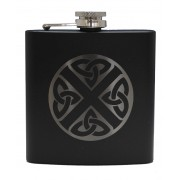 HF6 B CS - 6oz Matt Black Hip Flask Celtic Saltire