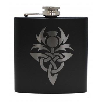 HF6 B CT - 6oz Matt Black Hip Flask Celtic Thistle
