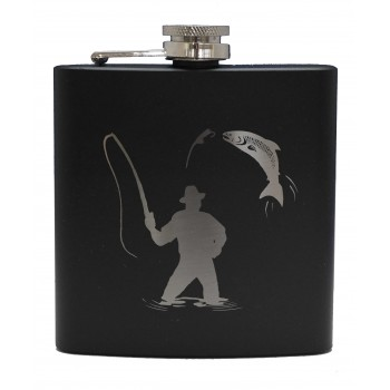 HF6 B FM - 6oz Matt Black Hip Flask Fisherman