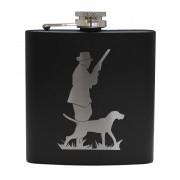 HF6 B HU - 6oz Matt Black Hip Flask Hunter