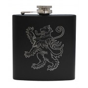 HF6 B LR - 6oz Matt Black Hip Flask Lion Rampant