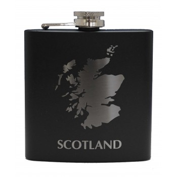 HF6 B SM - 6oz Matt Black Hip Flask Scotland Map