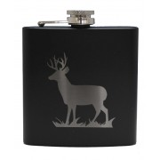 HF6 B ST - 6oz Matt Black Hip Flask Stag