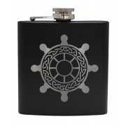 HF6 B SW - 6oz Matt Black Hip Flask Ships Wheel