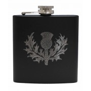 HF6 B TH - 6oz Matt Black Hip Flask Thistle