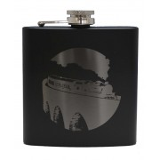 HF6 B TR - 6oz Matt Black Hip Flask Steam Train