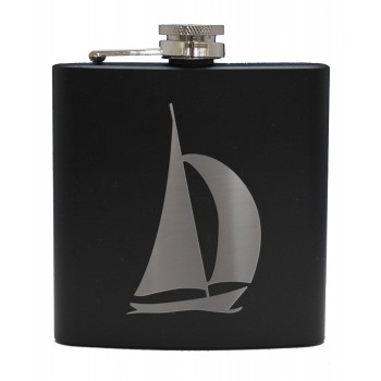 HF6 B YA - 6oz Matt Black Hip Flask Yacht