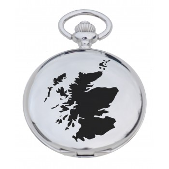 PW SM - Scotland Map Engraved Pocket Watch