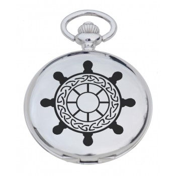 PW SW - Ships Wheel Engraved Pocket Watch