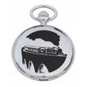 PW TR - Steam Train Engraved Pocket Watch