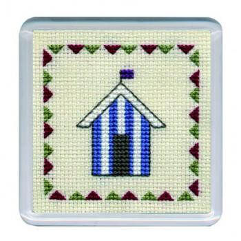 COBHB Beach Huts Coaster - Blue Stripe